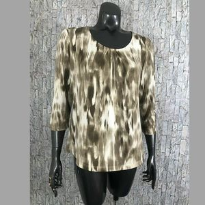Chico's Brown brushstroke Print Top Size 1